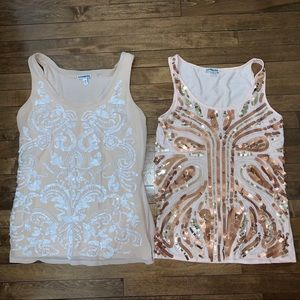 Lot of 2 Sparkly Sequin Beaded Tank Tops